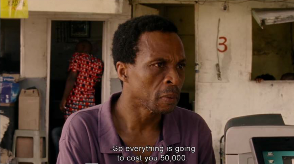 Everything costs money in Nigeria especially if you cant read or write  Source Screenshot from Eyimofe a film by Arie and Chuko Esiri