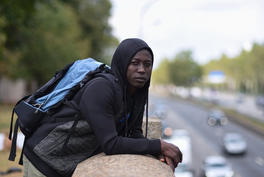 Hassan Bobacar, a 15-year-old Chadian from the Lake Chad region. His parents were killed by jihadists from Boko Haram. His brother was killed during their trip to Libya. He sleeps near the ring road, between the Porte de la Chapelle and the Porte d'Aubervilliers | Credit: Mehdi Chebil
