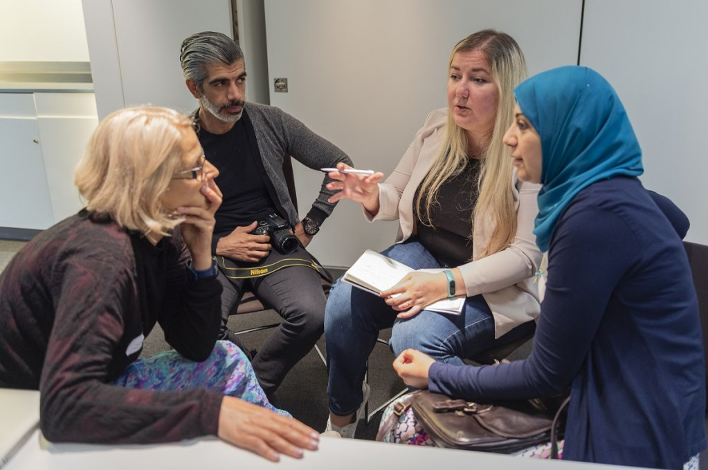 Refugee Journalists broke into small groups to discuss ideas about podcasts at The Guardian  Photo Veronica Otero wwwveronicaoterouk