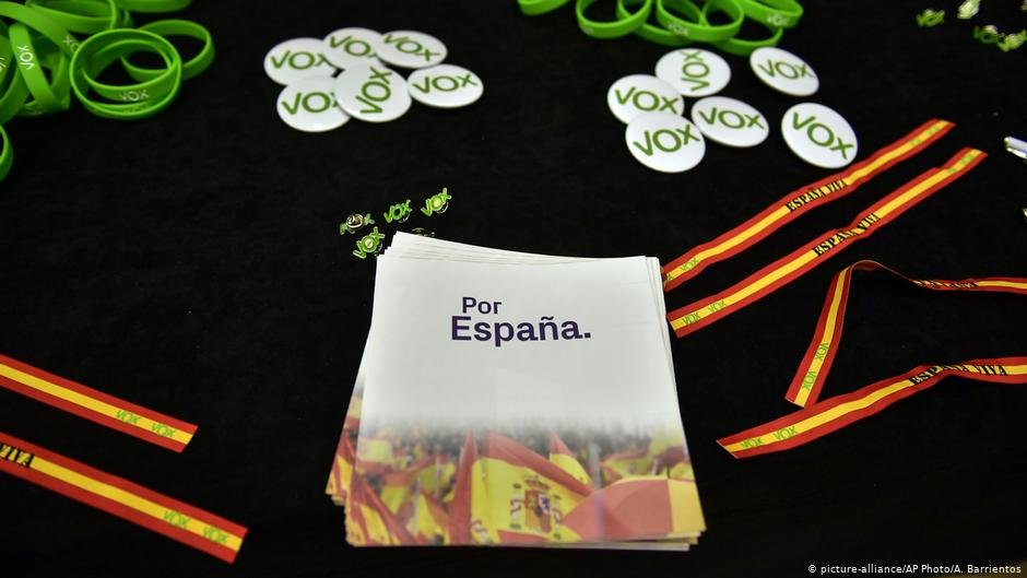 Souvenirs and banner reading For Spain to promote the far-right Vox party during the election campgain April 2019  Photo Picture-allianceAP PhotoA Barrientos