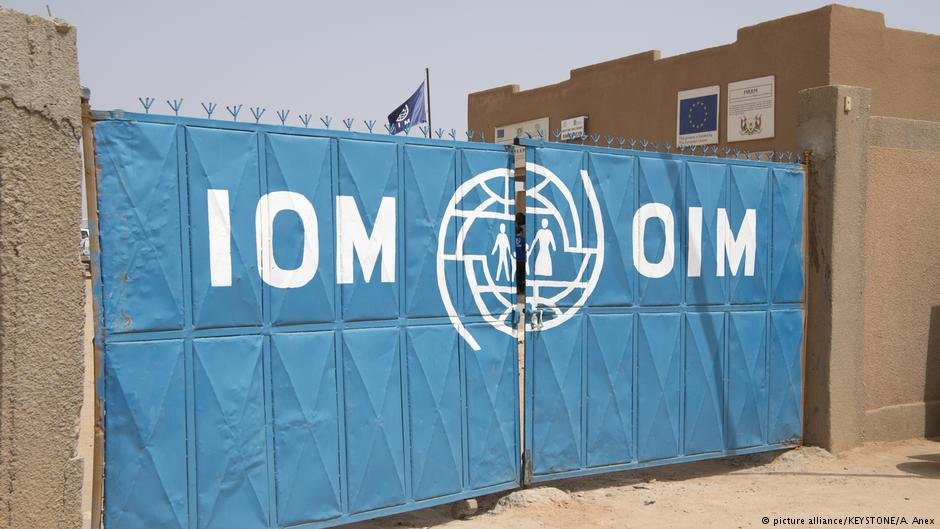 The entrance of a migrant reception centre of the IOM in Agadez Niger