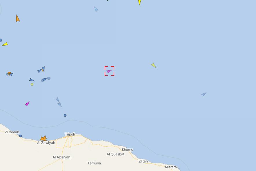 Le bateau humanitaire Eleonor est présent au large de la Libye, le 26 août 2019. Capture d'écran Vessel Finder
