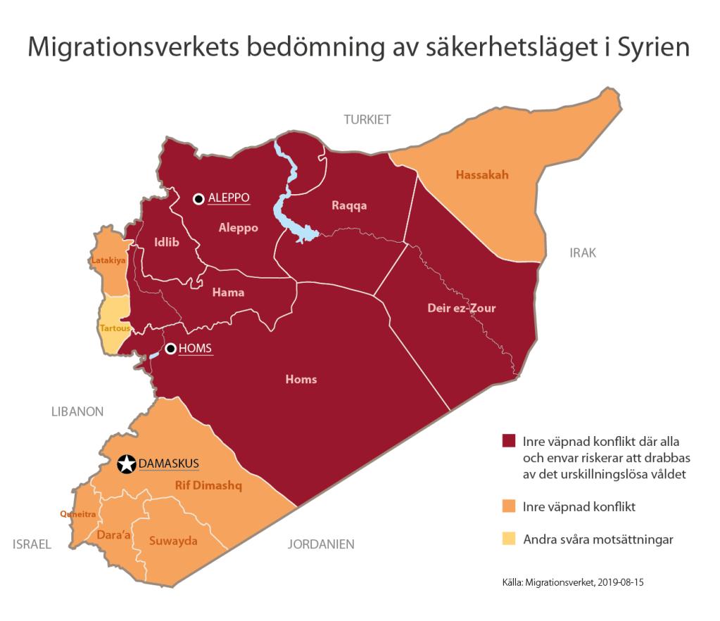 خريطة المدن الآمنة - دائرة الهجرة السويدية