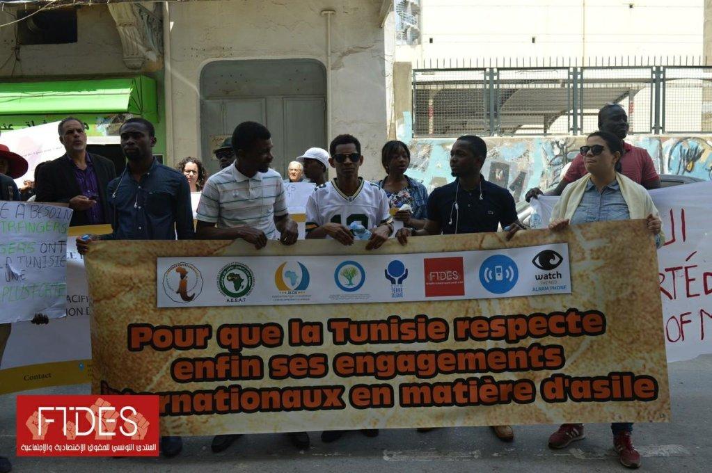 مظاهرة لمهاجرين في تونس/ حقوق الصورة: المنتدى التونسي للحقوق الاقتصادية والاجتماعية