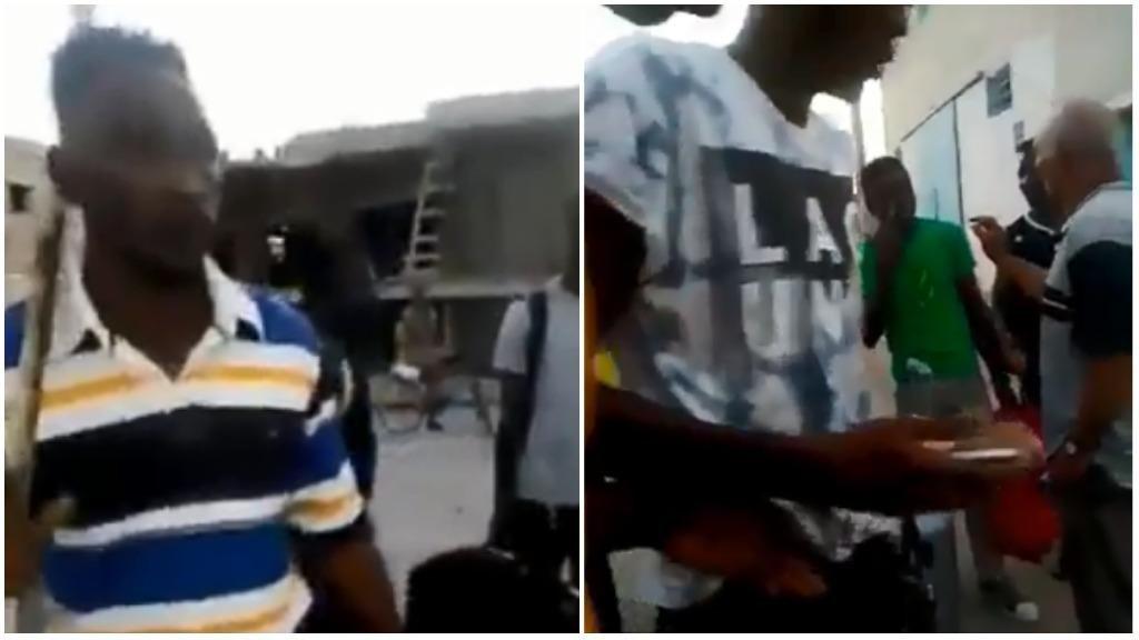 Captures d'écran d'une vidéo prise le 28 août 2018, à Najemata au nord de Tunis. Sur la vidéo, des Ivoiriens essayent de se protéger face aux agressions dont ils ont été les victimes.