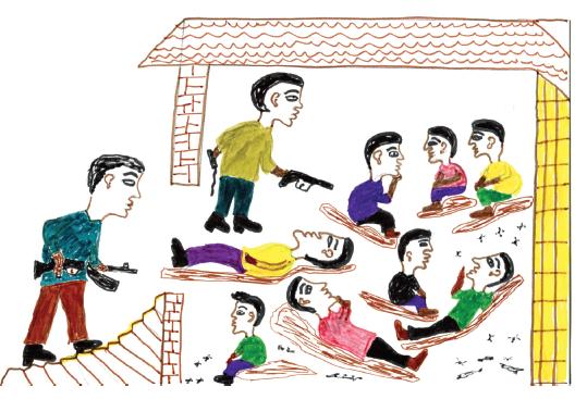 Sur ce dessin, Hafiz représente des migrants en Libye. Crédit : Hafiz Adem / Dessins Sans Papiers