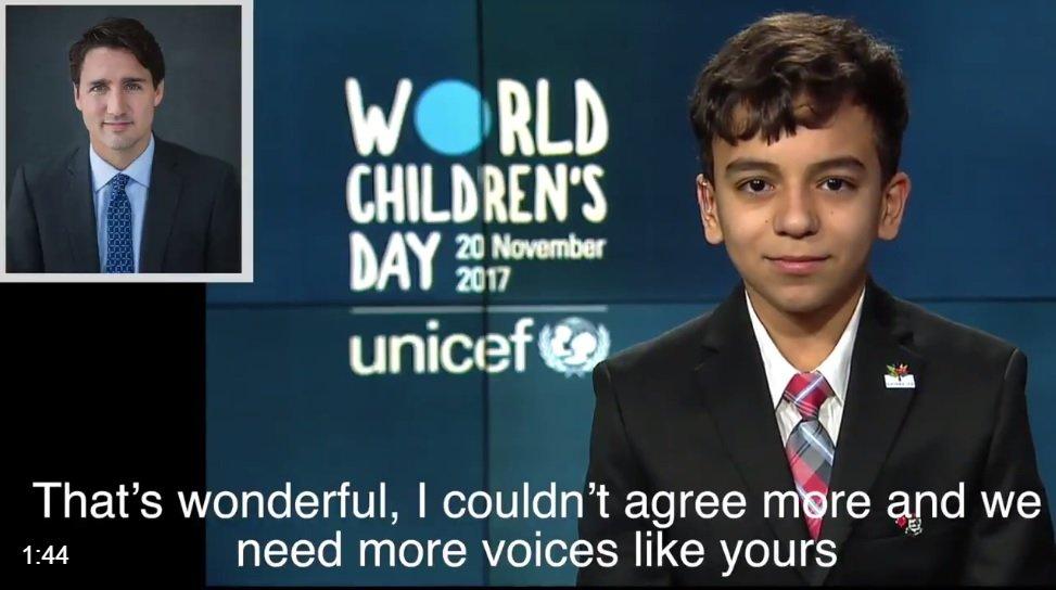 الطفل السوري باسل الرشدان في مكالمته الهاتفية مع رئيس الوزراء الكندي جاستن ترودو. (الصورة من فيديو لليونسيف)
