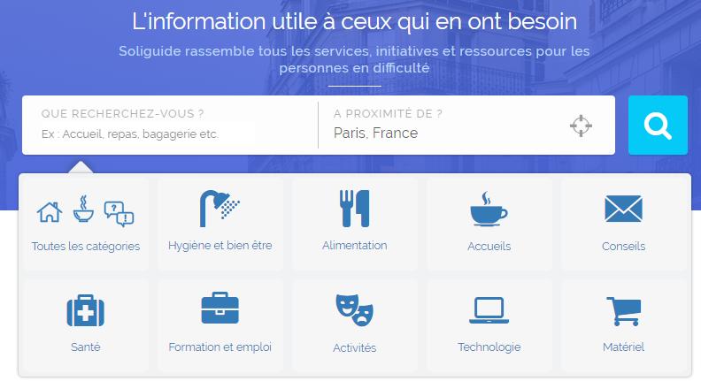 Le site Soliguide recense nombre d'informations utiles aux personnes qui vivent dans la rue. Capture d'écran