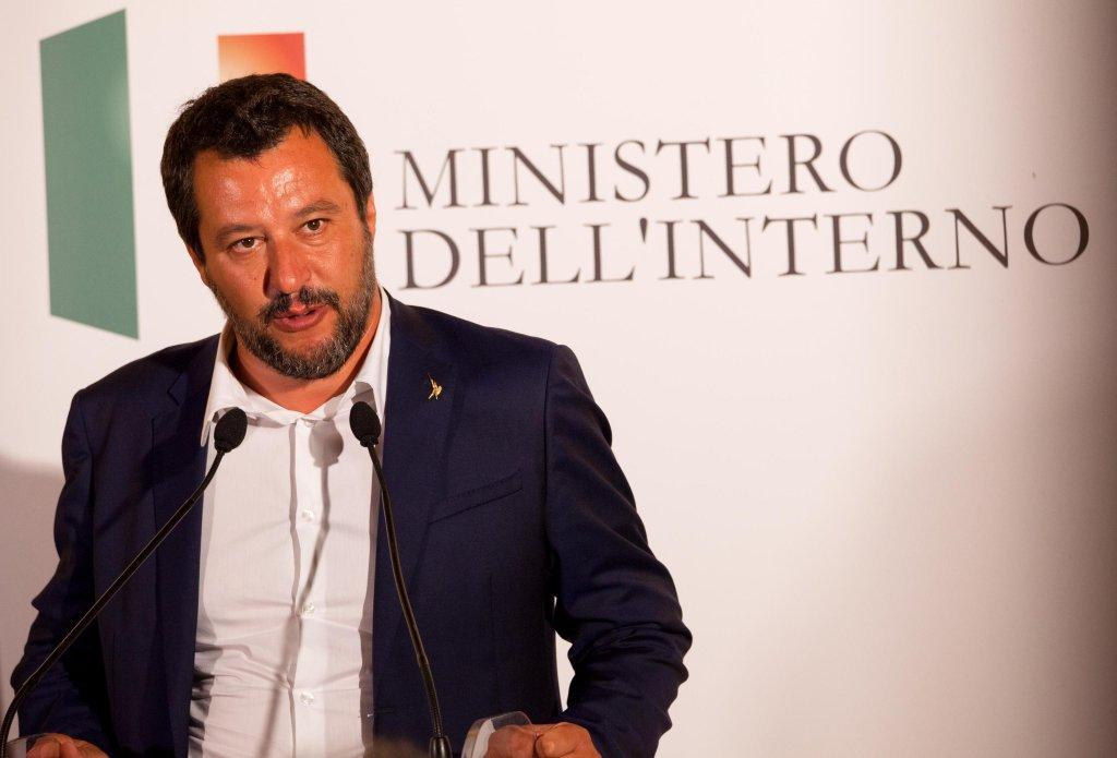 ansa /وزير الداخلية الإيطالي ماتيو سالفيني. المصدر: أنسا/ ماركو كوستانتينو.