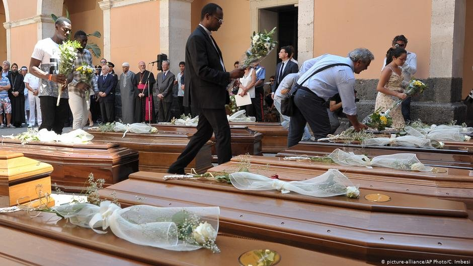Funeral of 13 who were among 800 dead in a shipwreck off Sicily 2015