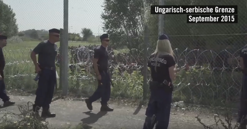 A screenshot of the Hungarian Serbian border police from 2015  | Credit: Screenshot from Amnesty International Deutschland film about Ahmed's case from February 2018