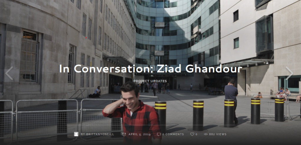 Ziad Ghandours interview on the Refugee Journalism Project Blog Ziad stands in front of BBC Broadcasting House in Central London  Credit Screenshot from Refugee Journalism Project