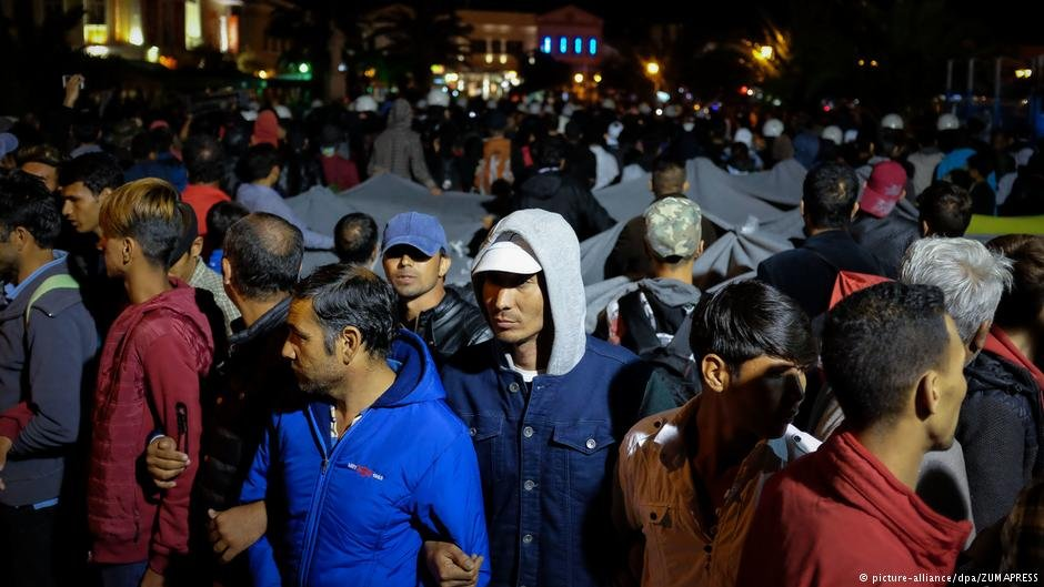 Refugees holding a protest on Mytilene square were attacked by members of a far-right group April 22 2018