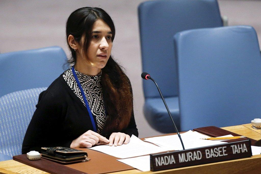 Nadia Murad, à l'ONU, à New York, en décembre 2016