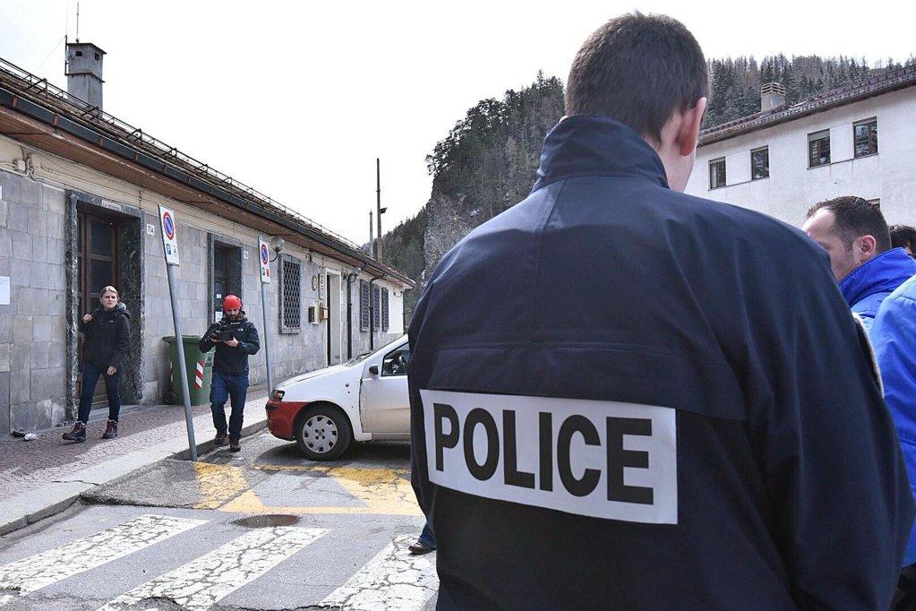 French customs police agents in Bardonecchia, Italy