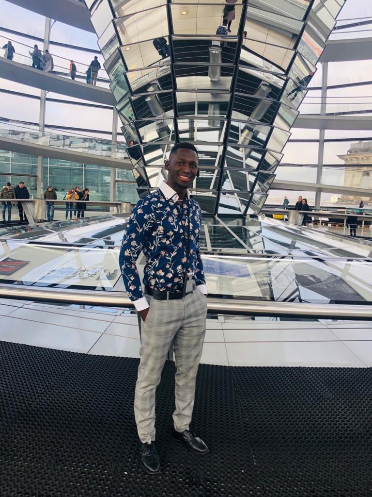 Yahya Sonko inside the Reichstag glass dome in Berlin in November 2019  Photo Yahya Sonko