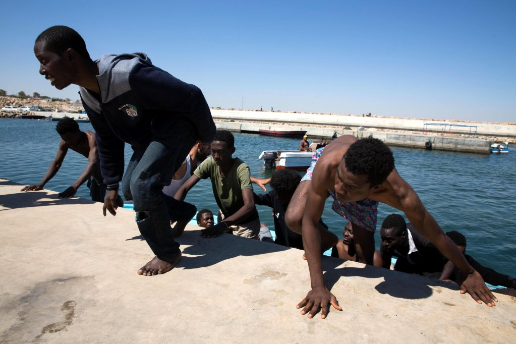 The Libyan coast guard returned this boat to Guarabouli, east Tripoli | Credit: EPA