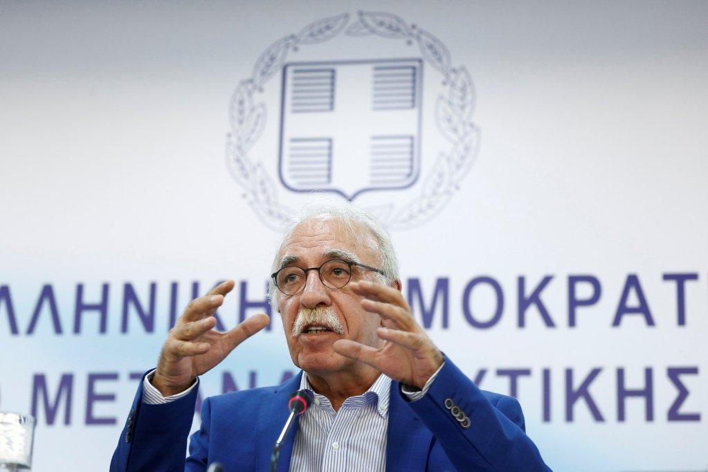 REUTERS/Costas Baltas |Le ministre grec de l'Immigration, Dimitris Vitsas, le 18 juillet à Athènes.