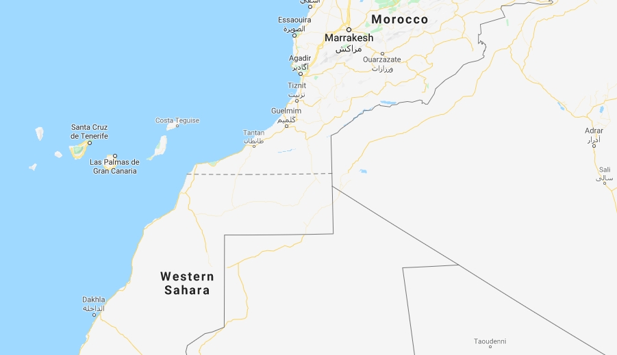 From Dakhla across the North Atlantic to the Canary Islands is a distance of several hundred kilometers  Screenshot from Google Maps