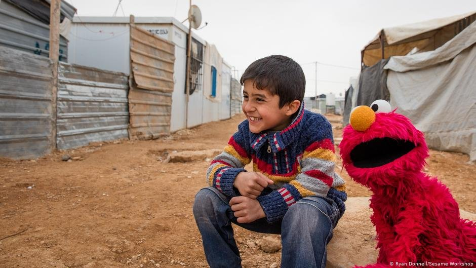 """Ahlan Simsim"" in a camp for Syrian refugees in Jordan 