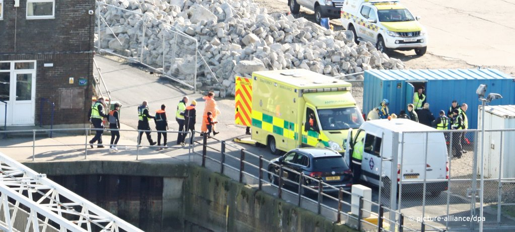 Migrants are led to an ambulance as they are brought ashore in Dover  Photo Picture-AllianceEmpics