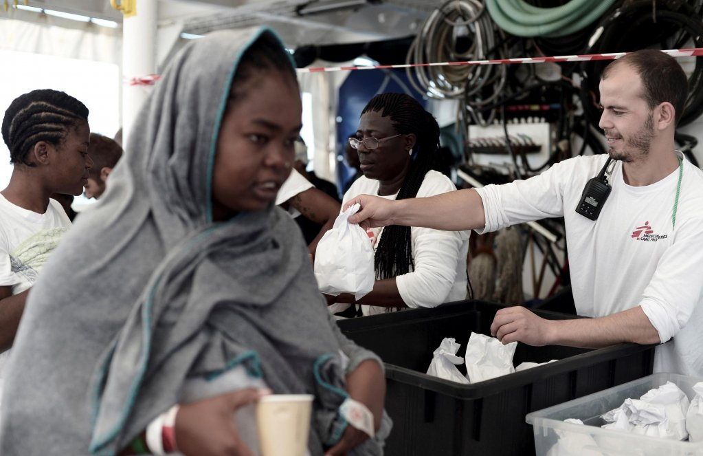 Some of the personnel from Doctors Without Borders shortly before disembarking the Aquarius | Credit: Doctors Without Borders