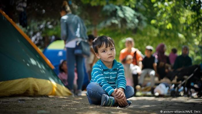 Refugees have set up tents in central Sarajevo