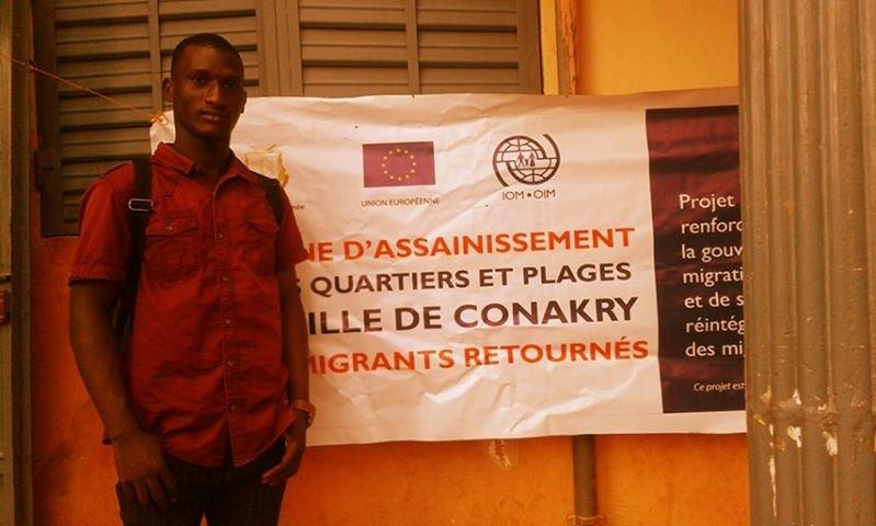 Sylla Ibrahima Sory a participé à une campagne d'assainissement organisé par l'OIM. Crédit : Sylla Ibrahima Sory
