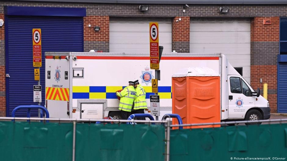 The bodies of 39 people found inside a lorry in Essex are transported under police escort by private ambulance from the Port of Tilbury to Broomfield Hospital in Chelmsford  Photo Picture alliance  empics