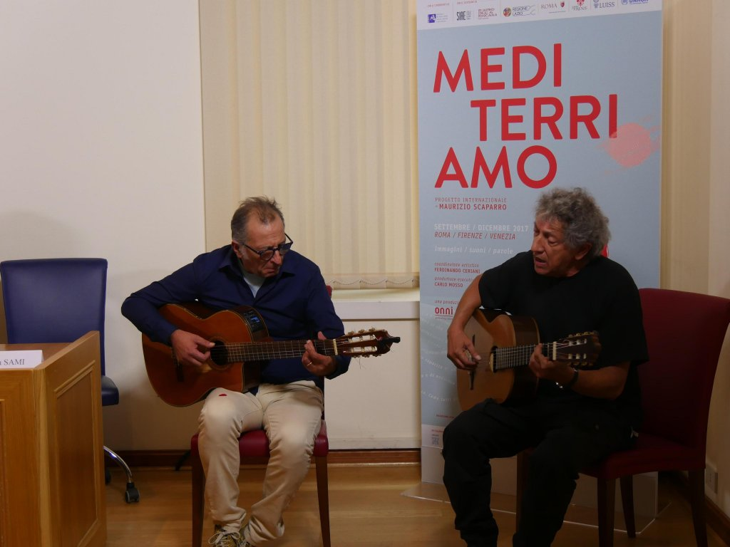 The performance of singer and song-writer Eugenio Bennato during the presentation of the project in Rome. Copyright: ANSA