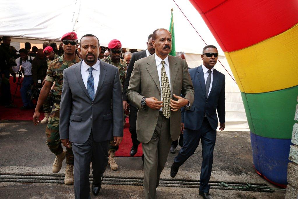 REUTERS/Tiksa Negeri |Le Premier ministre éthiopien Abiy Ahmed et le président érythréen Issayas Afewerki, le 16 juillet 2018 à Addis-Abeba.