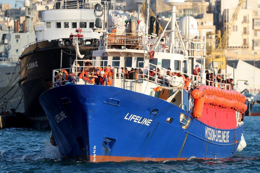 The NGO rescue vessel Lifeline, which was stranded in the Mediterranean with more than 200 migrants on board, about to dock in Malta on 27 June 2018. EPA/DOMENIC AQUILINA