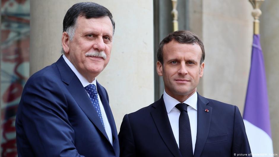Libya's Prime Minister el-Serraj meeting Emmanuel Macron in Paris, May 2019