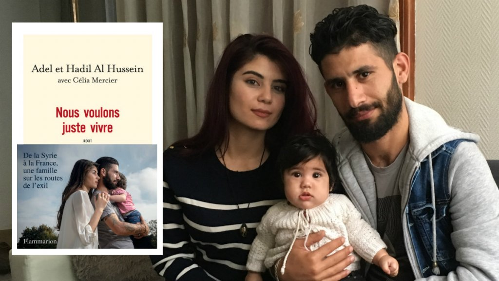 عادل وهديل الحسين مع ابنتهما شام في منزلهما ببلدة ليس، جنوب باريس 24/10/2018. مصدر: مهاجرنيوز