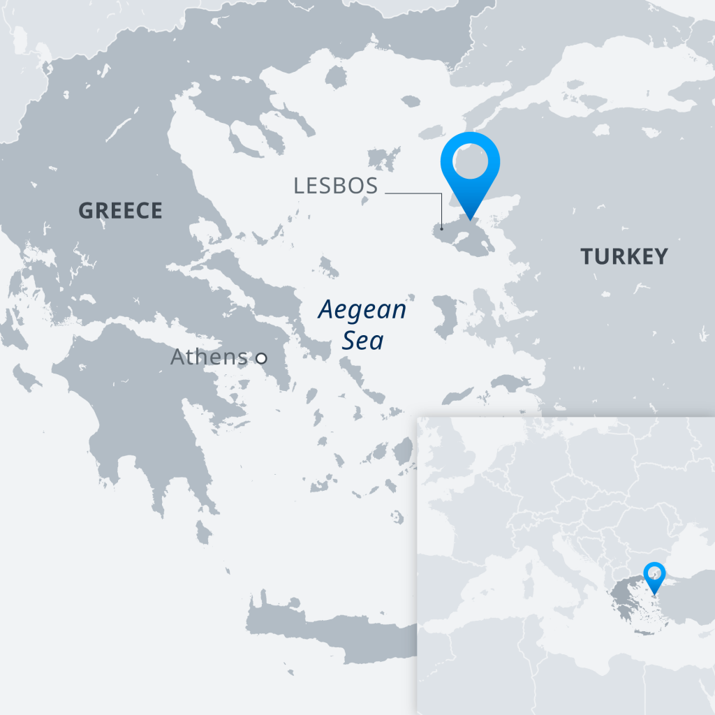 Maps showing location of Lesbos | Credit: DW