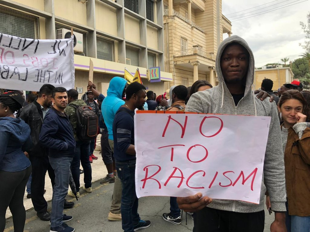 At a protest in Cyprus some migrants feel that they are discriminated against because of racism April 16 2019  Photo Caritas Cyprus