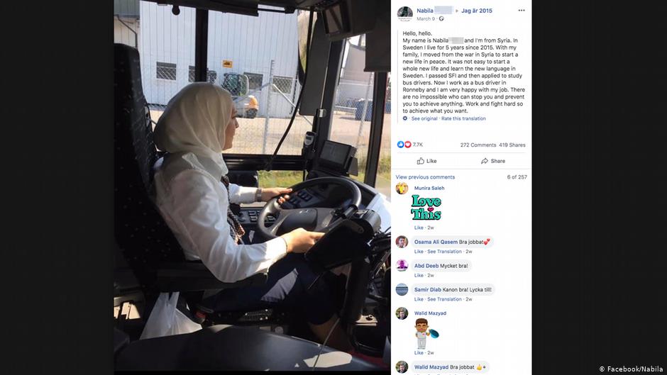 Nabila a fui la Syrie et travaille désormais comme conductrice de bus à Ronneby | Photo: Facebook/Nabila