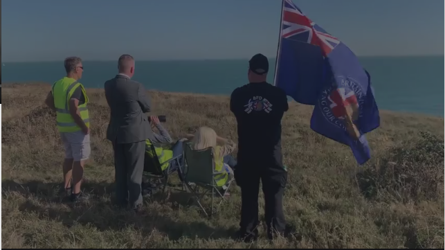 Britain First activists keep look-out on Britain's cliffs as part of the group's 'Operation Whitecliffs' | Credit: Screenshot from a video on the Britain First website