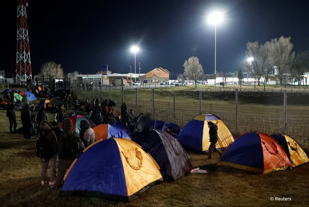 Around 200 migrants camped out at the Serbian-Hungarian border on Thursday  demanding to be let into the EU  Photo Reuters