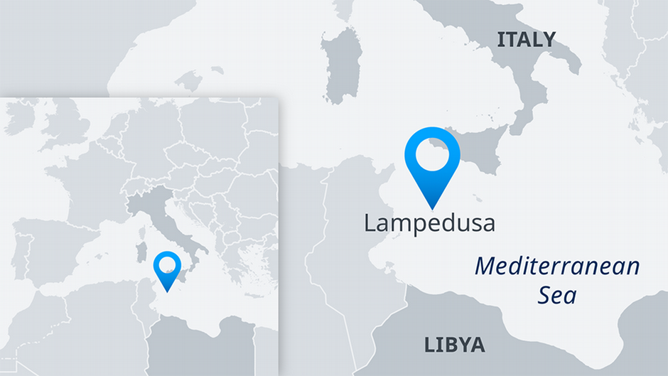 Map showing Lampedusa island  Source DW