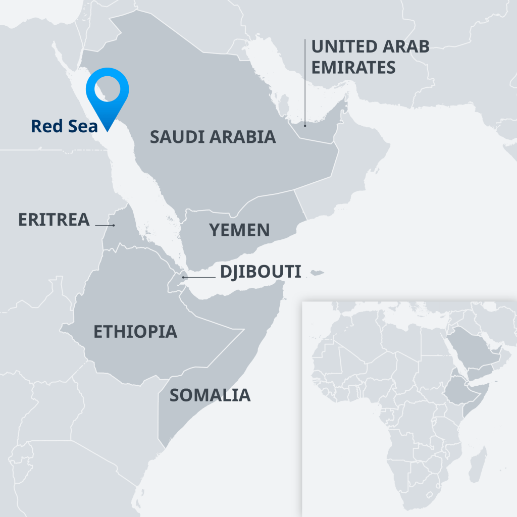 This map shows the Horn of Africa, Saudi Arabia and Yemen