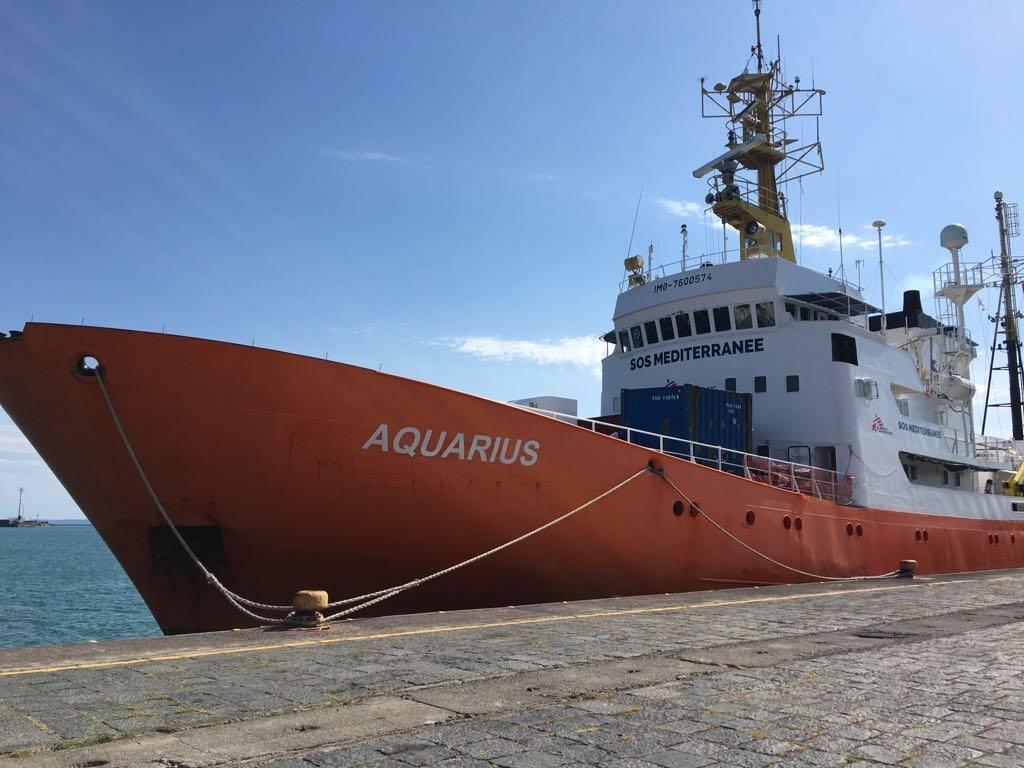 Image d'archives de l'Aquarius dans le port de Catane. Crédit : Charlotte Boitiaux