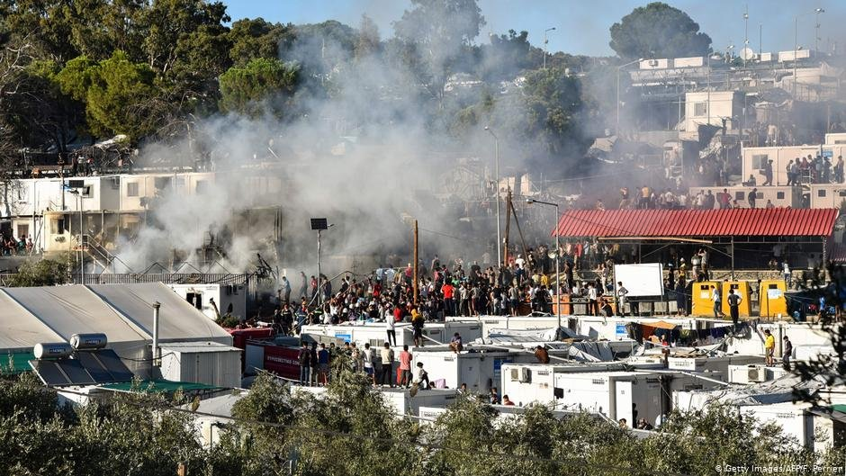 Fire at the Moria migrant camp on Lesbos in September 2019  Photo Getty ImagesAFPFPerrier