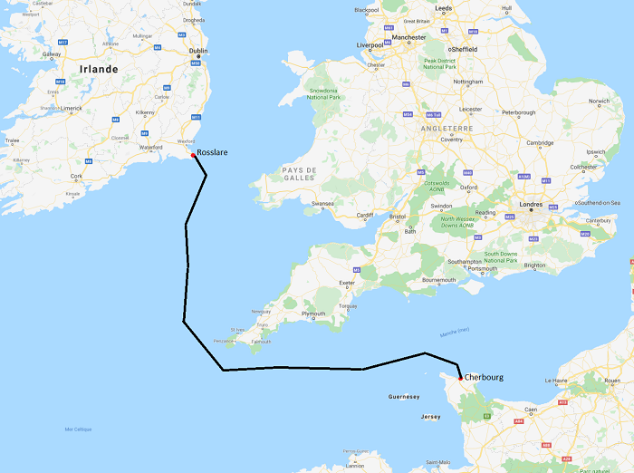 The migrants were traveling on a ferry from Cherbourg France to Rosslare Ireland  Source Google Maps