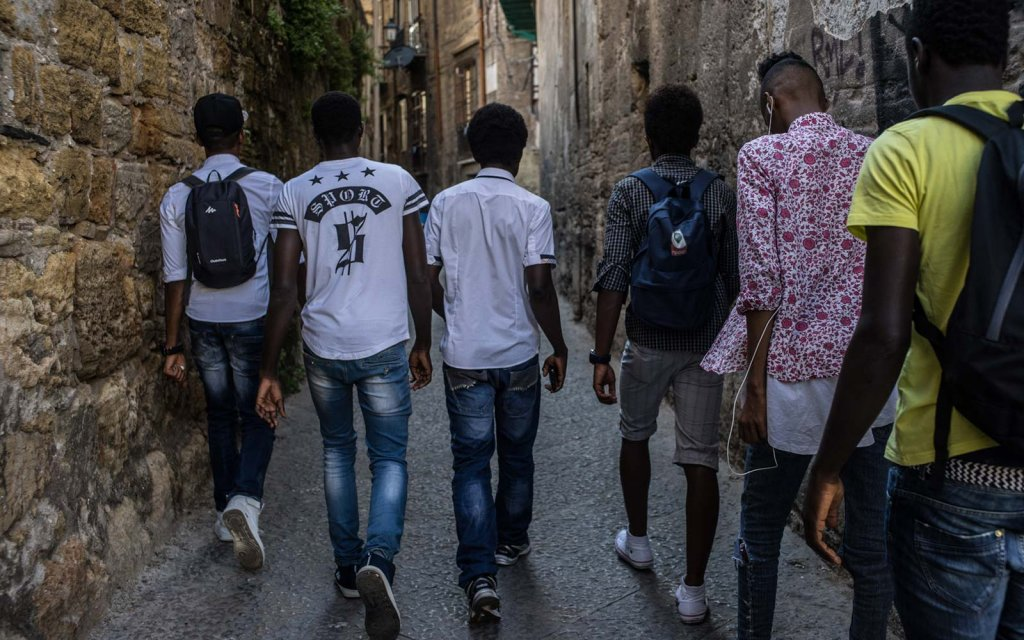 Young people part of the project Ragazzi Harraga in Palermo Italy