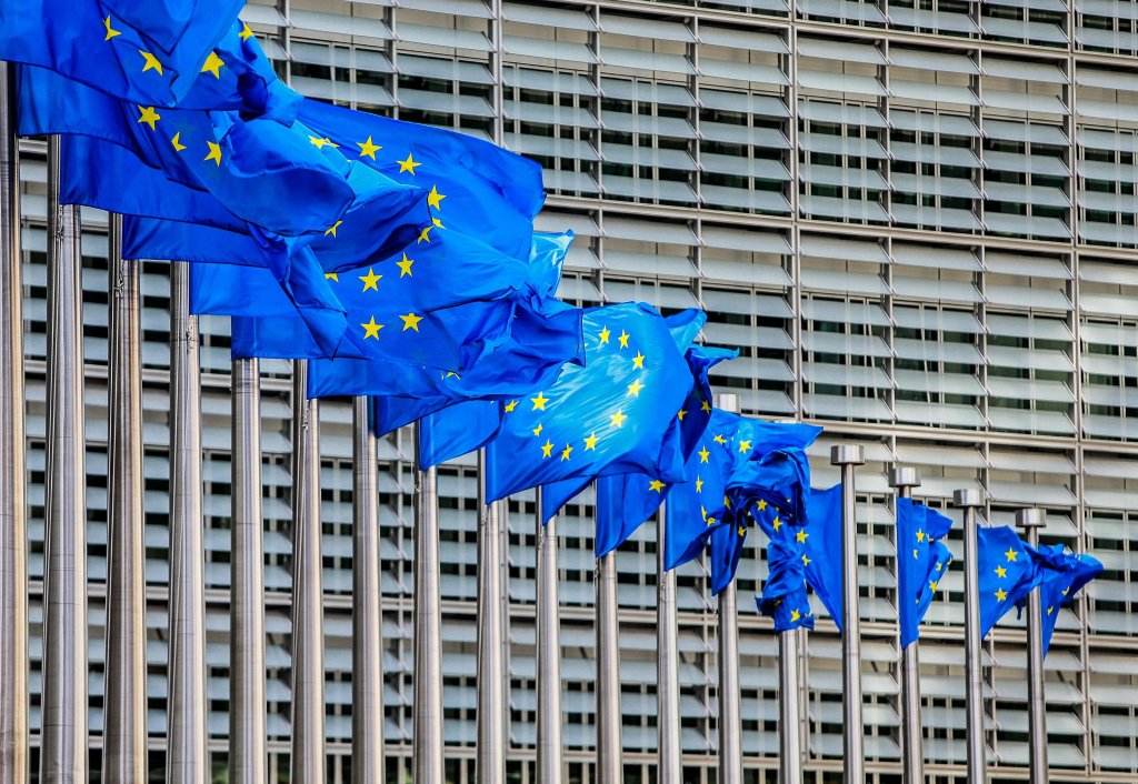 European flags flutter in the wind in front of the European Commission in Brussels. PHOTO/EPA/STEPHANIE LECOCQ