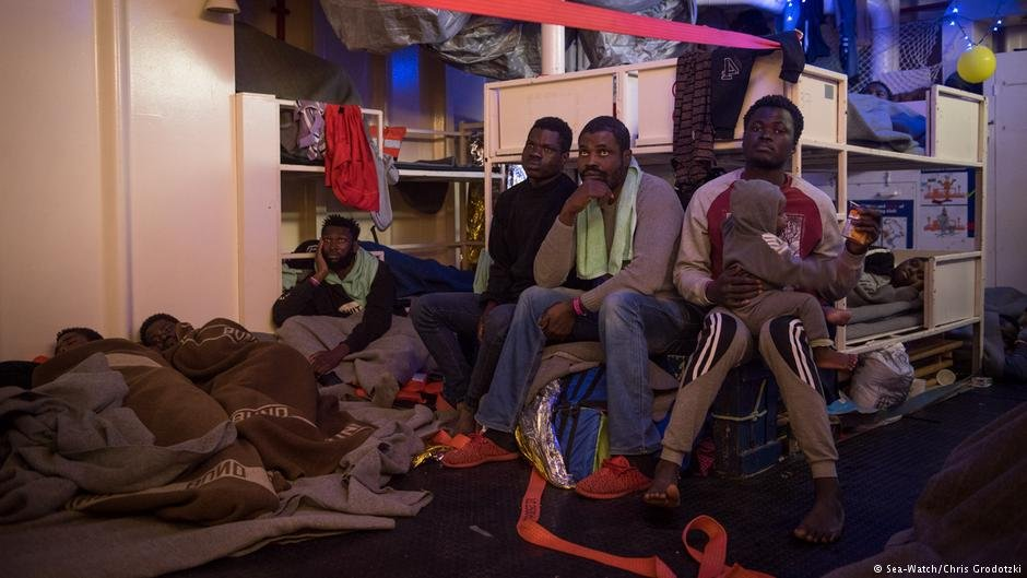 Conditions aboard the vessel for the refugees some of whom were children were desperate  Photo Sea-WatchChris Grodotzki
