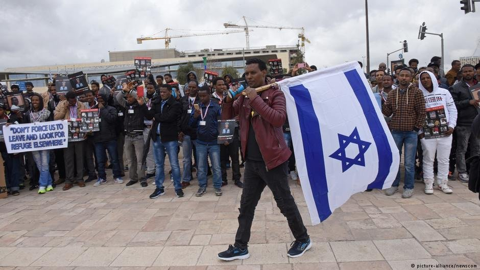 Asylum seekers during a protest against Israel's deportation policy in Jerusalem