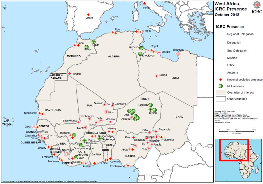 Les points en verts sont les lieux o le CICR a install des kiosques tlphoniques Crdit  CICR