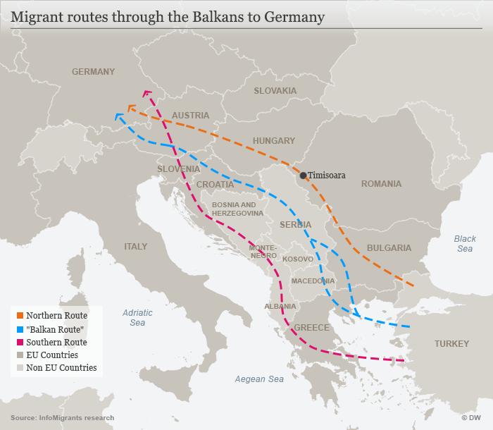 مسیری که پناهجویان در تلاش اند با استفاده از آن خود را به اروپای غربی برسانند.